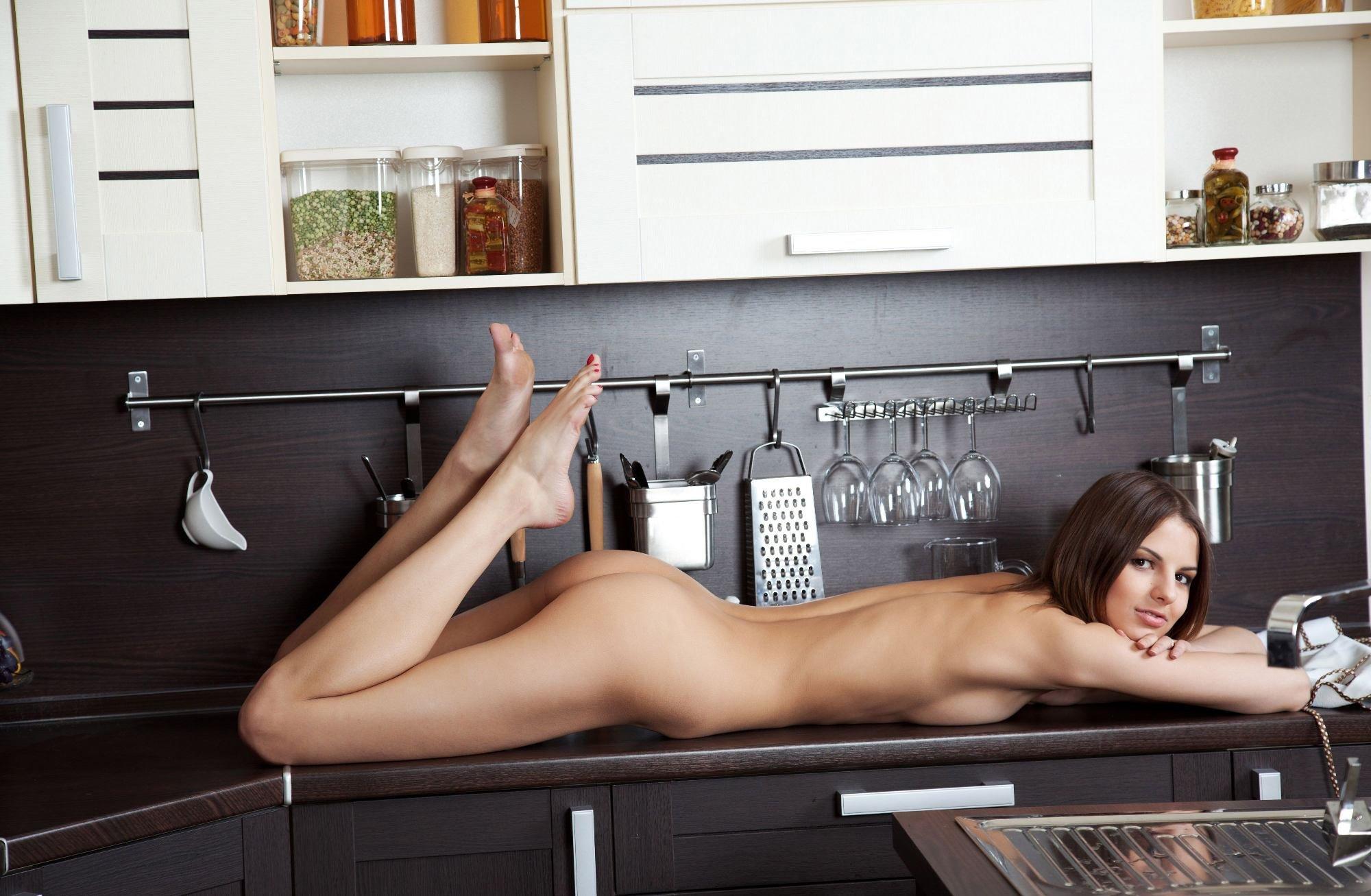 Mature woman kitchen sex