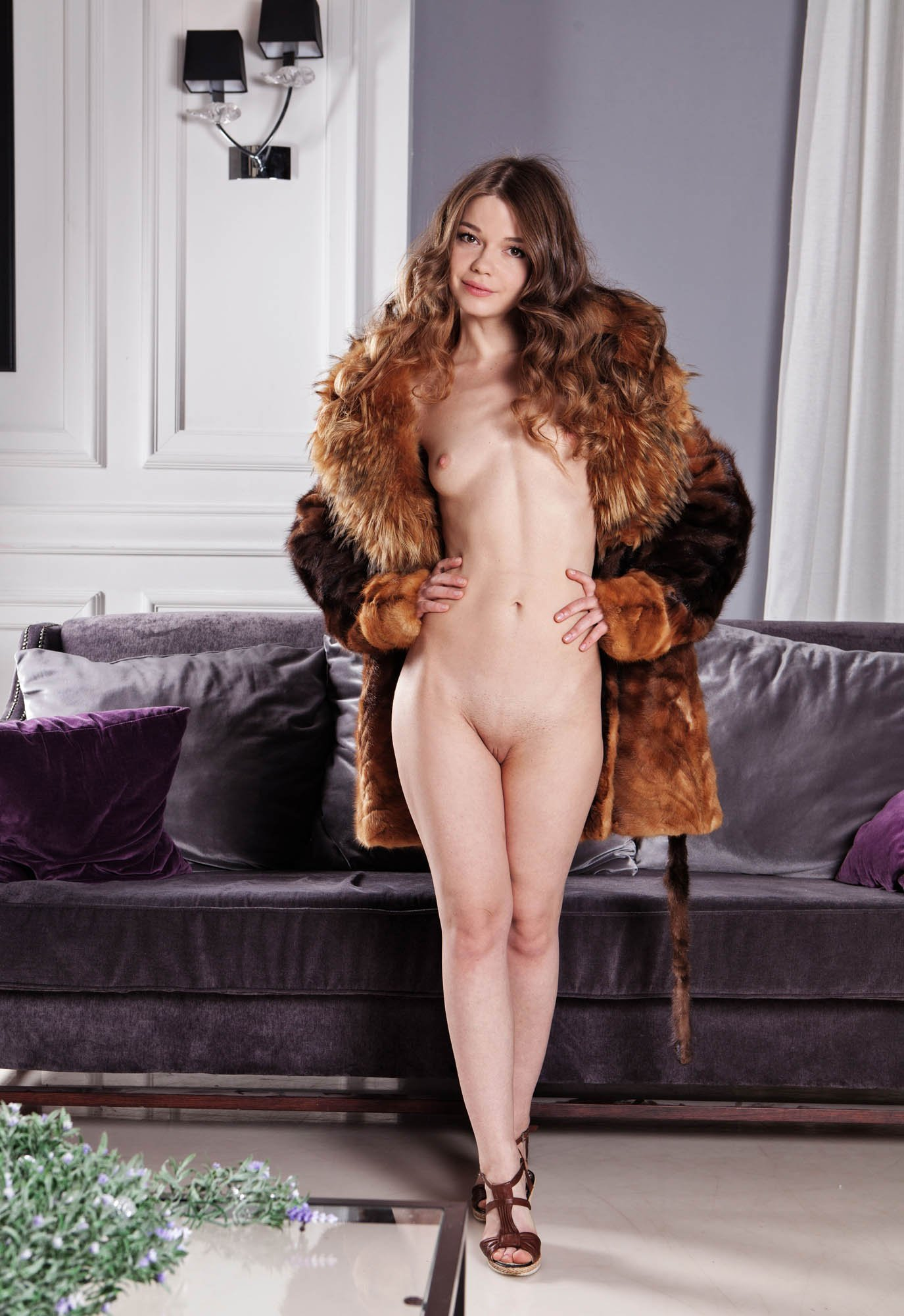Girls with naked girl with a coat on cutie