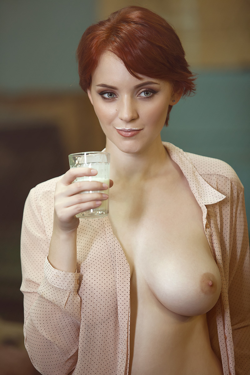 Redhead milking boobs 4