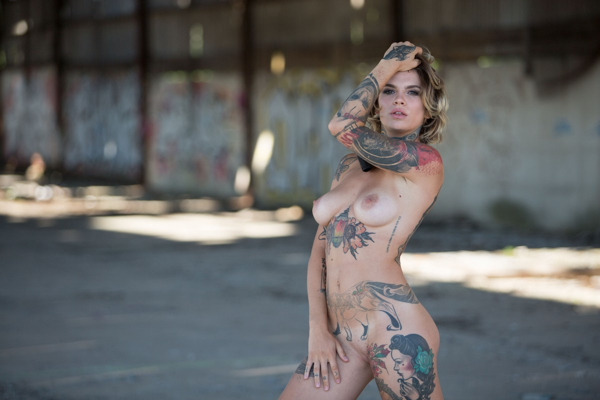 Very tattooed naked girl massive
