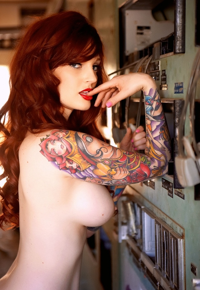 Redhead naked chic tattoo
