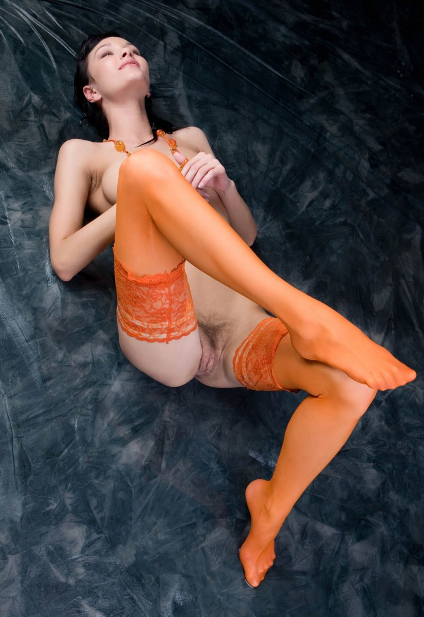 Hottie naked in orange stockings, pictures blackboy fucking girls